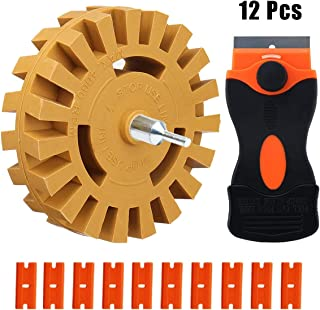 BREADEEP Car Decal Remover Eraser Wheel, 4 inch Rubber Wheel with Drill Adapter, Plastic Razor Scraper Kit for Removing Pinstripes, Stickers, Adhesive Vinyl from Cars, Rvs, Boats