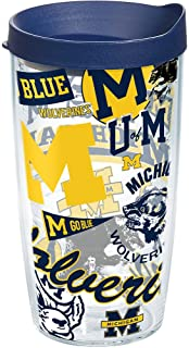 Tervis Michigan Wolverines All Over Tumbler With Lid, 16 oz, Clear
