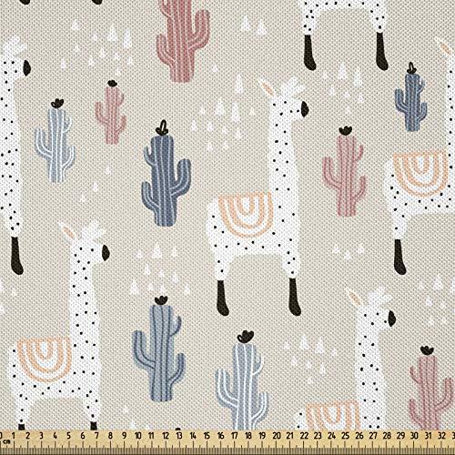ABAKUHAUS Llama Tela por Metro, Patrón con Animal Sudamericano Guanaco Cactus y Elementos Infantiles Dibujo a Mano, Satén para Textiles del Hogar y Manualidades, 1M (148x100cm), Multicolor