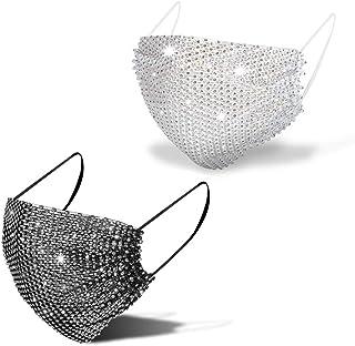 Sponsored Ad - Sparkly Rhinestone Mesh Mask Masquerade Face Masks Glitter Bandana Halloween Party Nightclub Masks for Women