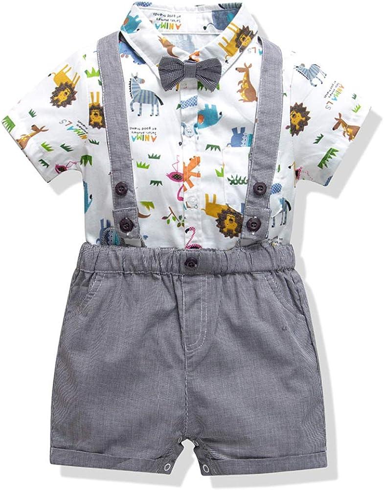 SeClovers Baby Boy Tuxedo Outfits|Gentleman Bowtie Romper Suspender Set,Toddler Formal Suit