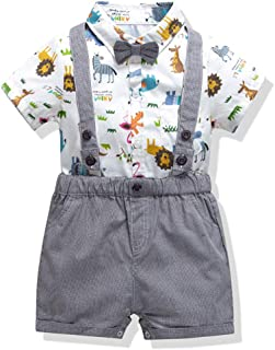 Baby Tuxedo Outfits-Gentleman Bowtie Romper Suspenders Short Set,Formal Suit BY12