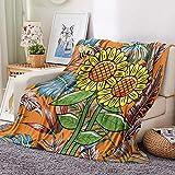 HKDGHTHJ Mantas para Sofa Decorativas 130 X 150 cm Girasol Planta...