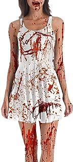 Zombie Nurse Costume Dresses Women Sleeveless Halloween Bloody Printing Party Dress Up