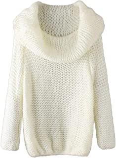 Womens Off Shoulder Warm Long Sleeve Pullover Knitted Loose Jumper Sweaters