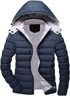 WUAI-Men Classic Hooded Puffer Jacket Winter Warm Packable Parka Jackets Plus Size