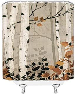 Woodland Shower Curtain Birch Trees in The Autumn Forest Watercolor Leaves Fall Seasonal Illustration Bathroom Decoration Set 70x70 Inch Waterproof Polyester Fabric with Hooks