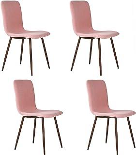 FurnitureR Set de 4 sillas de comedor de cocina, ensamble lo