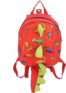 Mochila de dinosaurio Mochila para niños, mochila de dibujos animados merienda bolsa de almuerzo mochila de viaje con arnés de seguridad correa para niños en edad preescolar(Red)