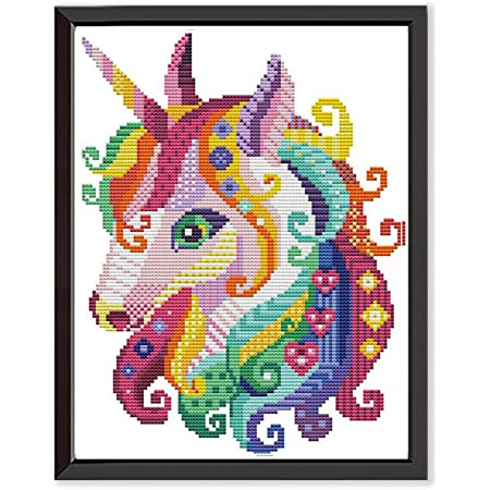 Cross Stitch Stamped Kits Pre-Printed Cross-Stitching Starter Patterns for Beginner Kids or Adults Embroidery Needlepoint Kits Unicorn in Garden