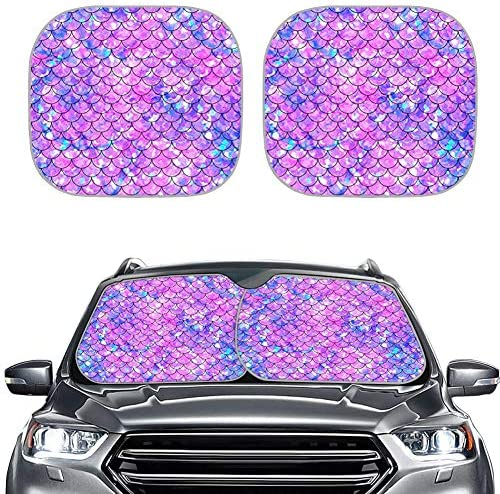 HUISEFOR Bling Scale Car Windshield Sun Shade Colorful Car Front Window Cover for Car SUV Sunshade product image