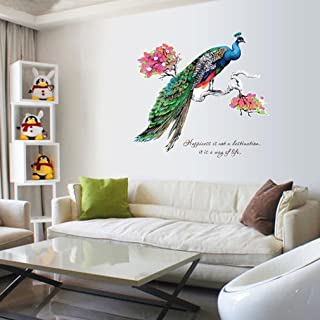 Livoty Diy Chinese Style Peacock Tv Background Wall Decoration Removable Wall Stickers one size E