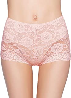 Eve's temptation Lily Women's High Waist Lace Seamless Slimming Panties Underwear Full Coverage