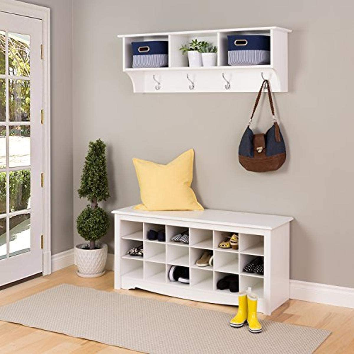 Prepac Hanging Entryway Shelf with - shop White Bench Shoe Large special price Cubby
