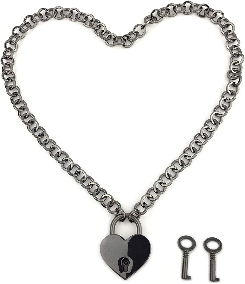 Padlock Necklace Chain Collar Choker with Two Keys and Box for Women,Girls and Men