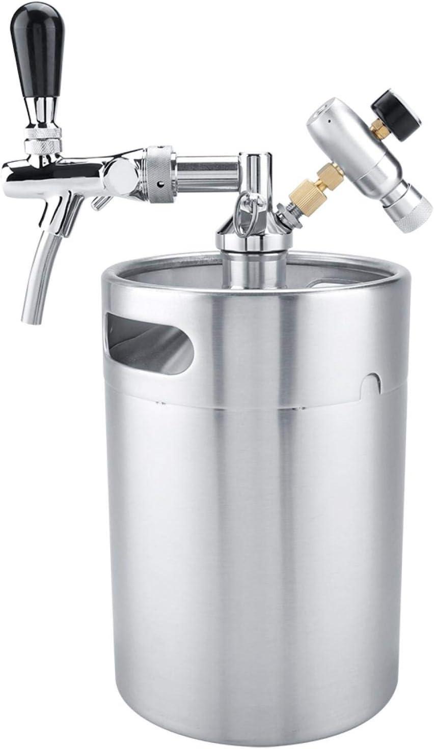 Mini barril de acero inoxidable de 5L con grifo Juego de dispensador de cerveza artesanal presurizado para elaboración de cerveza, barril de cerveza Mini barril dispensador de barril de cerveza inoxid
