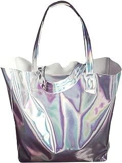 Van Caro Womens Open Top Holographic Tote Shoulder Bag Laser Shopper Bag