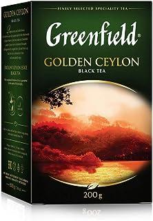 GREENFIELD GOLDEN CEYLON | Schwarzer Loser Tee 200G | Leaf | Schwarztee von Sri Lanka | Schwarzer Tee lose - feinste Blatt-Qualität | Frühstückstee | Single Origin