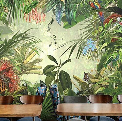 3D vliesbehang foto vlies premium 3D fotobehang 3D wandschilderijen wallpaper tropisch regenwoud plant banaan achtergrond wandbehang hoofddecoratie 350*245 350 x 245 cm.