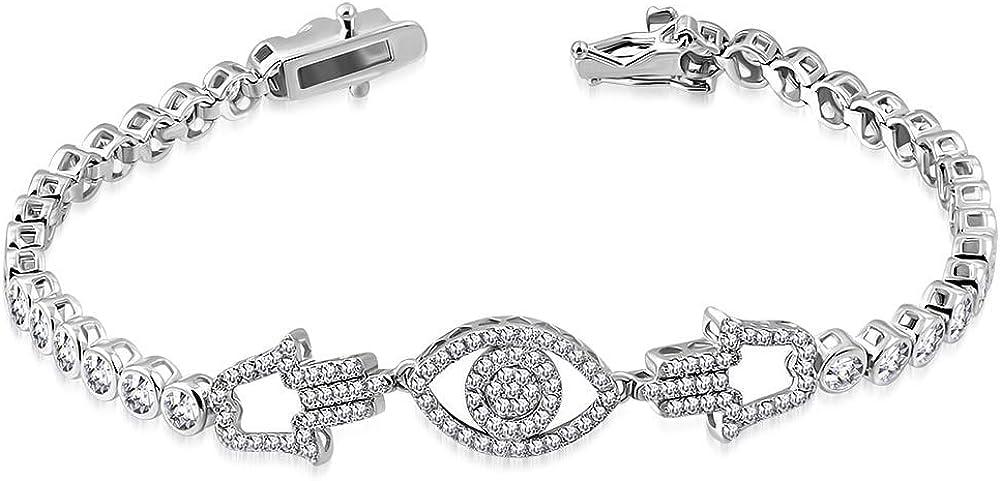 925 Sterling Silver White Bezel-Set Protection Trust Hamsa CZ Our shop OFFers the best service Eye Evil