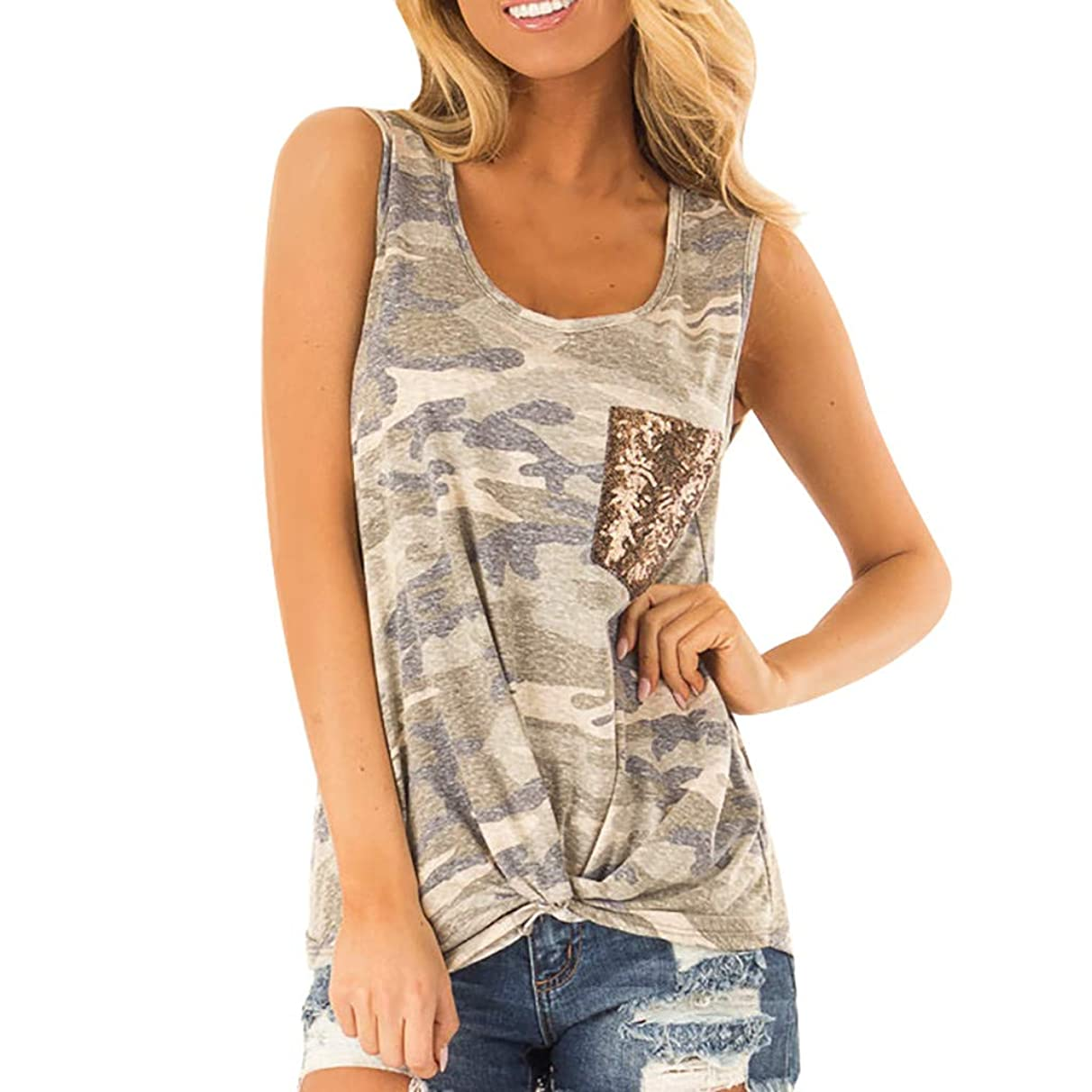 SOWU Women Tunic Tank Tops Ladies Camouflage Print Sequin Pocket Front Knot U-Neck Casual Vest Tee Blouses Tops