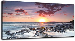 Sunrise and Sunset Ocean Waves Landscape Canvas Wall Art for Living Room Print Artwork Wall Decor Painting Bedroom Bathroom Decorations Sun Seascape Canvas Prints Picture Decor Office Home Decoration