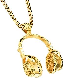 Men's Stainless Steel Music Headset DJ Headphone Pendant Biker Necklace, Gold/Black/Silver