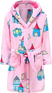 Kids Robe Soft Fleece Hooded Bathrobe Sleepwear for Girls Boys (Pink/Green, 4T)
