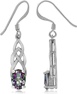 1.84ct. Mystic Fire Topaz 925 Sterling Silver Celtic Knot Dangle Earrings
