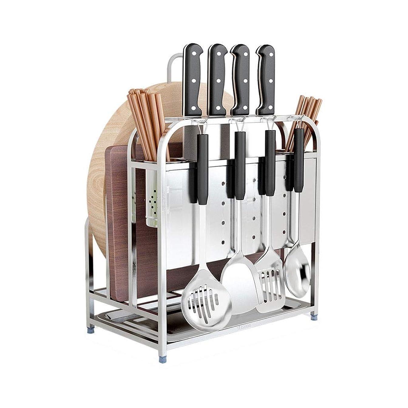 刺します薬局体操台所棚 - スパイスラックまたは浴室用ラックとして使用される調理器具を仕上げるためのアンティークステンレス鋼の台所用品 - 33cmX22cmX39cm