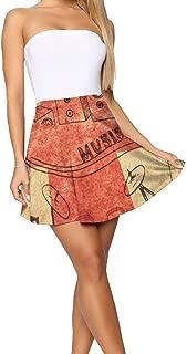 NO4LRM Women's Short Skirts UK Flag Musical Instruments High Waist Flared Casual Mini Skater Skirt