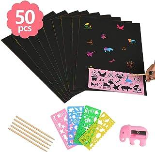 WOWOSS Scratch Art 50 Hojas Dibujo Scratch Láminas para Rascar Creativas Papel para Niños Dibujar,