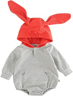 ALLAIBB Long Sleeve Hooded Romper Pullover Top Outfits for Baby Toddler Boys and Girls