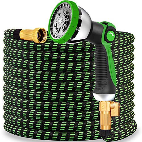 Expandable Garden Hose 2020 Updated Expanding Water Hose with 10 Function Water Spray Nozzle Lightweight Durable Flexible Watering Hoses for Garden Car Washing Extra Strength Fabric