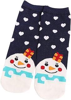 MrTom, MrTom Calcetines de Navidad, Calcetines de Algodón Térmicos Invierno Mujer Calcetines de Estar por Casa Navideños con Patrones de Papá Noel Reno Copo de Nieve y Muñeco de Nieves MT25