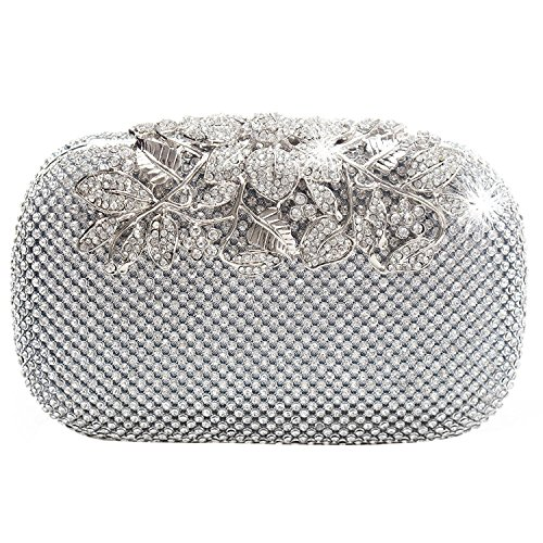 TOOGOO Monedero Clutch Bolsa de Noche de Diamante Cristal Diamante Plata Corchete Unico Fiesta Nupcial Baile