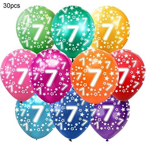 Bluelves Kunterbunte Luftballons 7 Jahre Metallic 30pcs Deko zum 7. Geburtstag Junge Mädchen, Jubiläum Hochzeit Party Kindergeburtstag Happy Birthday Dekoration Zahl 7