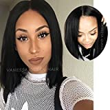 Vanessa Queen Silky Straight Short Cut Bob Wigs with baby Hair for Women Synthetic Lace frontal Wig 12–14Inch