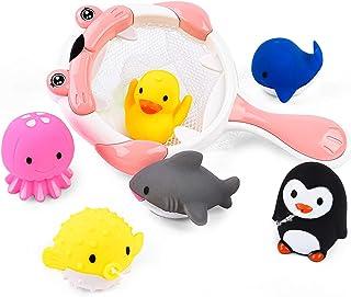 JoyGrow お風呂 おもちゃ 水遊びおもちゃ 赤ちゃん 子供 シャワー かわいい 動物すくい 噴水 お風呂 幼児 魚網 アヒル クジラ ペンギン