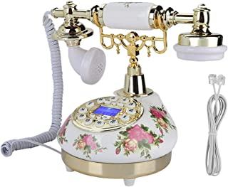 Antique Telephone, Fixed Digital Vintage Telephone Classic European Retro Landline Telephone Ringtone Adjustable with Incoming Call Display & One-Button Redial Function