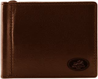 Mancini Leather Goods Inc Men's Top Grain Polished Drum Dyed Leather RFID Secure I.D. Card Single Bill Clip