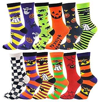 Halloween Socks for Women Girls 12 Pairs Bats Pumpkins Ghosts Print Colorful Pattern Novelty Cute Gift  Assorted Crew Socks
