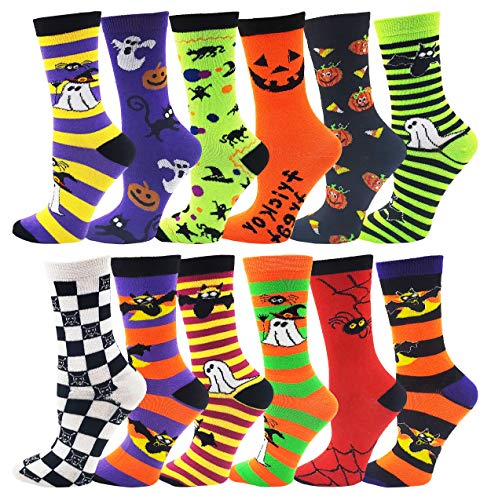 Halloween Socks for Women Girls, 12 Pairs Bats Pumpkins Ghosts Print, Colorful Pattern Novelty Cute Gift (Assorted Crew Socks)