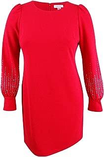 Womens Embellished Bubble Sleeve Sheath Dress CD7C11EL