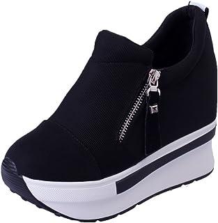 Yowablo Chaussures Femmes Compensées Bottes Plateforme Slip on Bottines Mode Chaussures Décontractées