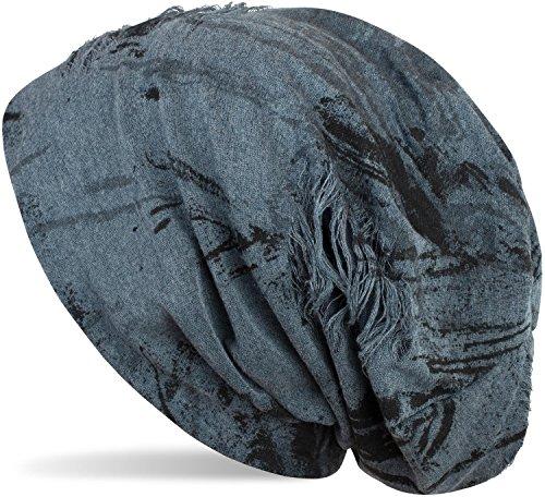 styleBREAKER gemusterte Beanie Mütze im Destroyed Vintage Used Look, Slouch Longbeanie, Unisex 04024068, Farbe:Jeansblau