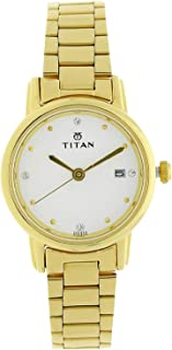 Titan Women's White Dial Stainless Steel Band Watch - 2572YM01