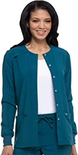 Dickies Women's Essentials Snap Front Warm-Up Solid Scrub Jacket