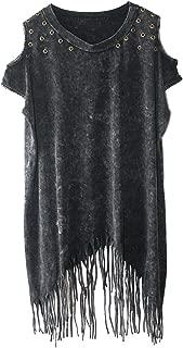 Nite closet Punk Rock Clothing for Women Fringe Tops Long Tshirt Stud