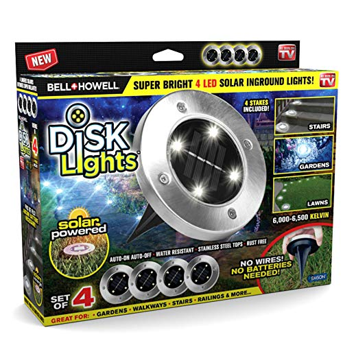 Bell+Howell Disk Lights Solar Ground Lights - UPGRADED Wireless Auto On/Off Solar Garden Outdoor Waterproof Lighting with 4 LED Bulbs for Lawn, Patio, Garden, Pathways, 4 Packs